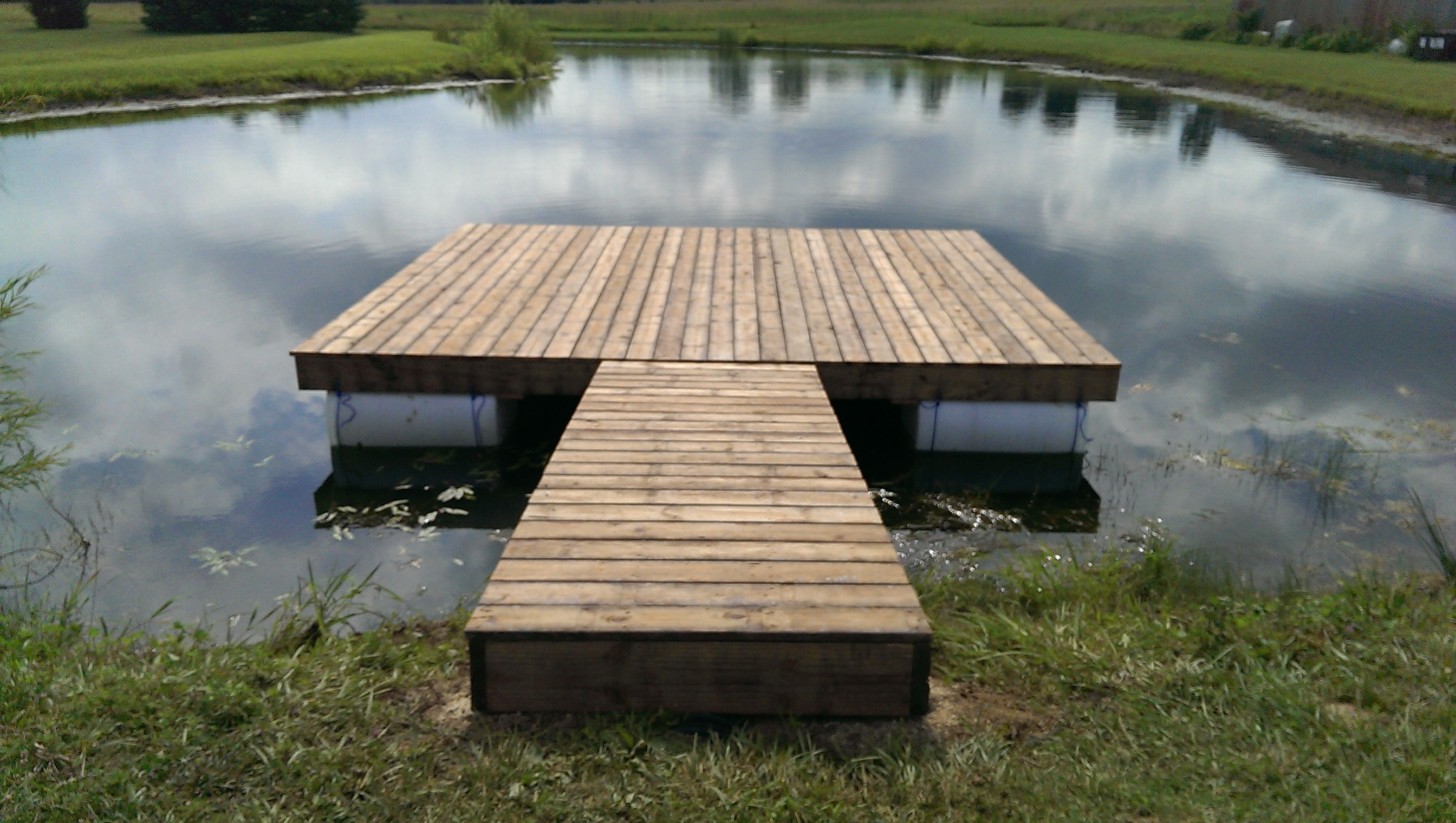 Floating dock completed questions observations for Small pond dock plans