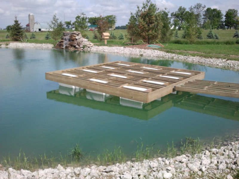 Floating dock property projects construction pond for Small pond dock plans
