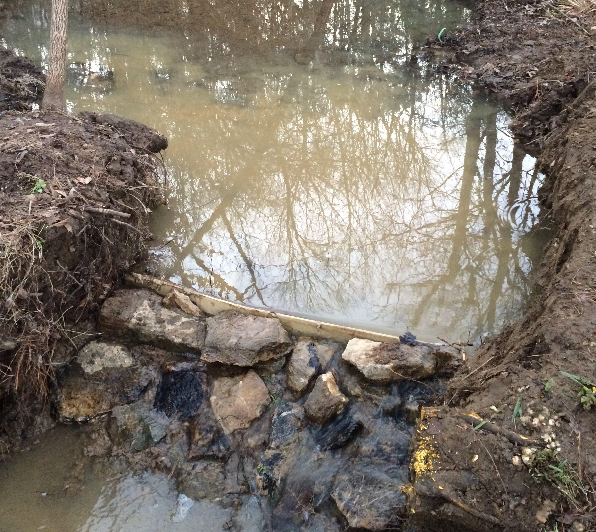 How to fix breached dam for small pond building a dam for Pond dam design