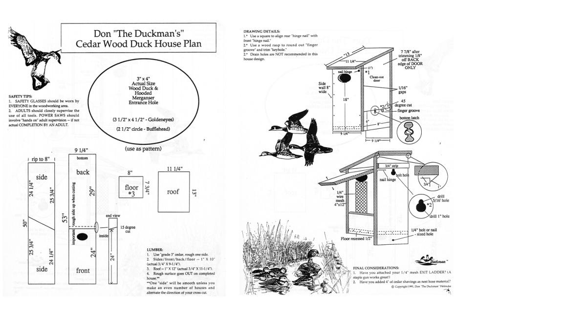 Cedar Wood Duck House Plans